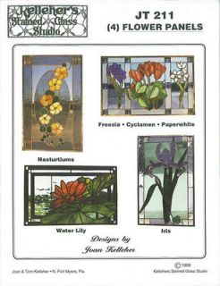 Flower stained glass patterns (only) JT 211 FOUR Patterns in one