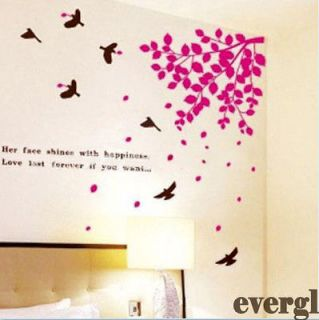 Newly listed A Red Falling Leaves Birds Removable Wall Sticker Home
