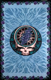 grateful dead tapestry steal your face blue flowers syf time