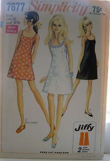 Vintage1968 Simplicity Pattern #7677 Classic Slip Dress Mini/or longer