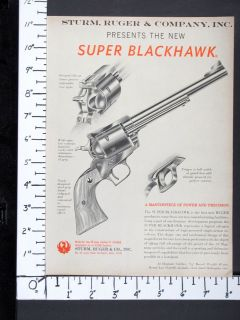 1959 RUGER debut New SUPER BLACKHAWK 44 Magnum Revolver magazine Ad