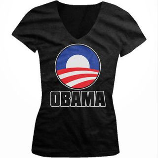 Barack Obama Logo American Flag 2012 Election Girls Junior V Neck T