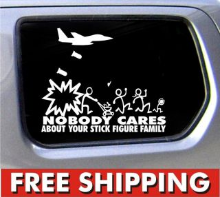 Stick Figure Family Nobody Cares Jet Fighter funny stickers car decal