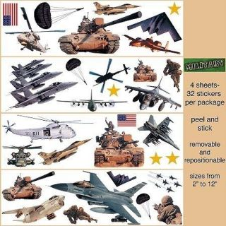 Big Wall Stickers Army Marines Air Force Room Decor Decals Jets Tank