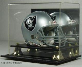 black leather mini football helmet display case holder time left