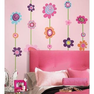 new flowers stripe wall decals nursery flower stickers time left