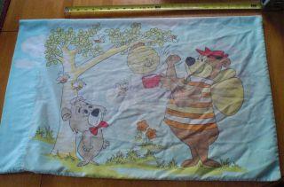 1960s vintage Yogi Bear pillow case standard Boo Boo Hanna Barbera L