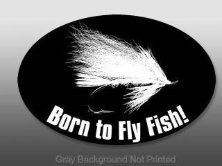 oval born to fly fish sticker flies fishing decal rod