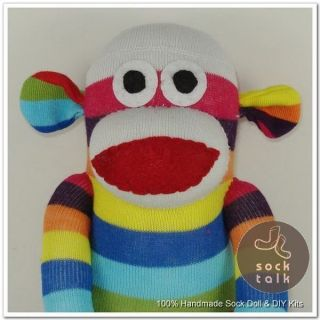 Handmade Rainbow Striped Sock Monkey Stuffed Animals Doll Baby Toys