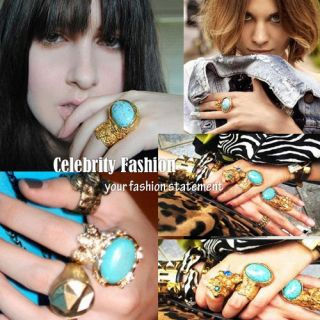 Celebrity Style Fashion Arty Metal Gold plated Oval Stone Ring in TURQ