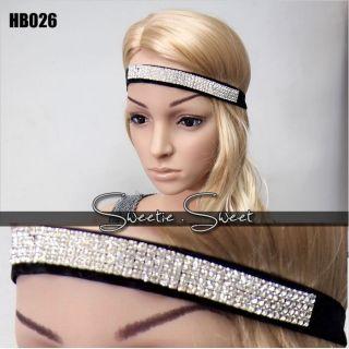 Sweetie 4 Row Silver Diamond Bling Rhinestone Crystal Forehead Hair