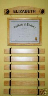 handmade 8 slat stain karate martial arts belt rack personalized
