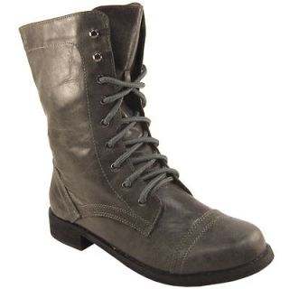 womens new dark grey military lace up shoe boots