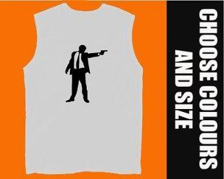 DOGS vest muscle top SLEEVELESS T SHIRT BNWT gun shooter tarantino