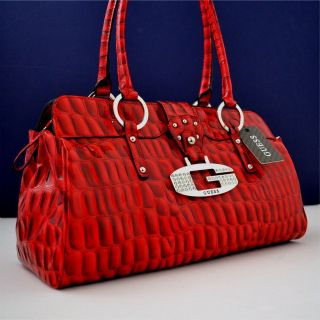 guess red teresa handbag purse satchel bag