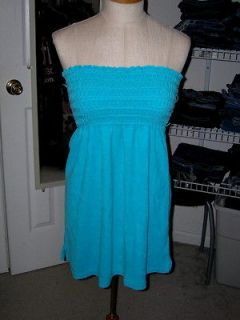 JUICY COUTURE BLUE STRAPLESS TERRY COVER UP BLOUSE MICRO MINI DRESS