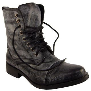 womens black lace up military fashion army boots size 3