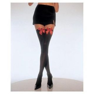 Black Opaque Thigh Highs with Red Satin Bow (One Size) Stockings