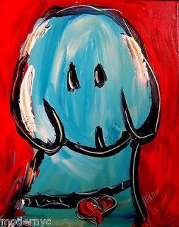 Newly listed BLUE DOG MODERN ABSTRACT ART   PAINTING CANVAS PINUP