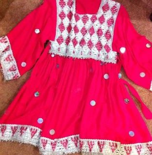 Afghan Traditional Dress In Coral With Silver Sequins & embroidery 3