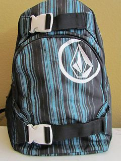 NWT Volcom Striped Graphic Logo Multi function Laptop Backpack Black