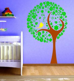 Lovely Large Tree Bird Flower Kids Bedroom Nursery Wall Stickers Decal