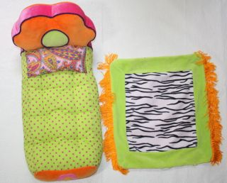 groovy girls flower zebra bed plush for 12 doll euc