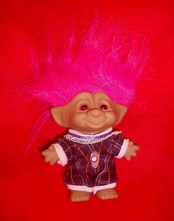 EX rare Ace Novelty TROLL doll PINK EYES jewel purple pink jumpsuit