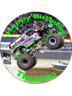 personalised monster truck edible cake topper time left $ 7