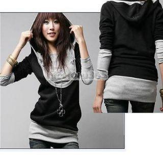 N4U8 New Korea Womens Lady Long Sleeve Cotton Tops Dress Hoodie Coat