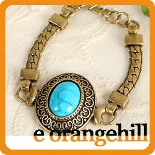 Turquoise Gemstone women jewelry Antique Gold GP Vintage ST Bracelet