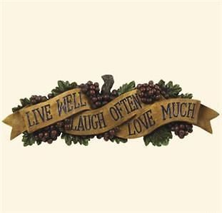 grapes wall sign live love laugh plague tuscany decor time