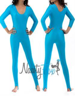 Turquoise Blue Scoop Neck Long Sleeve Shiny Spandex 80s Disco Dance