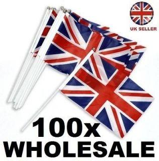100 x Union Jack/British Nylon fabric Hand Waving JUBILEE Flags 30