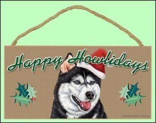 siberian husky 10 x 5 happy howlidays dog sign new
