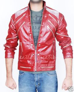 Michael Jackson Beat it Leather Red Jacket Free Billie Jean Glove