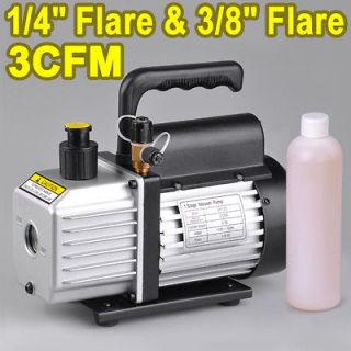 Single Stage Rotary Vane Deep Vacuum Pump 1/4HP Refrigerant HVAC Air