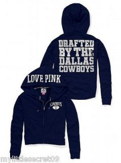 NWT Victoria Secret Pink NFL Dallas Cowboys Bling Slouchy Zip Hoodie