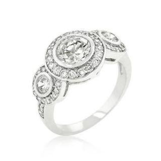 antique style 14k white gold simulated diamond engagement ring size