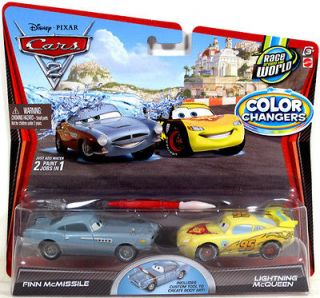 Disney Pixar Cars 2 Color Changers FINN McMISSLE and LIGHTNING McQUEEN