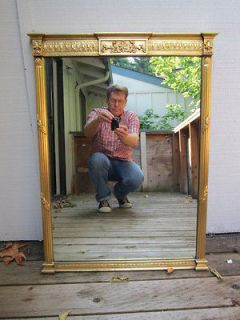 EMPIRE gold gilt antique french art glass wall mirror vtg furniture