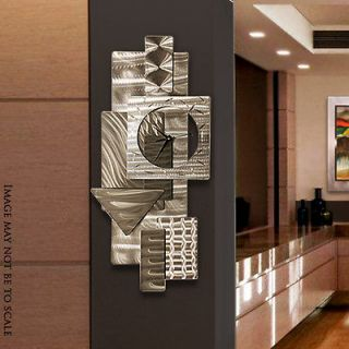 Abstract Metal Wall Art Sculpture Silver Dynamic Notions Clock by