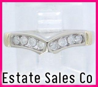 14k White Gold 2 Tone Round Diamond Curved V Shaped Band Ring .24ct
