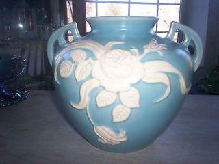 vintage weller pottery blue cameo rose handled vase large time