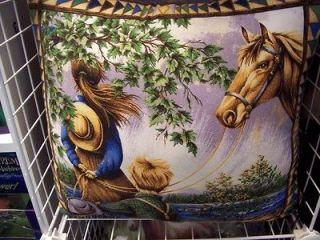 BEAUTIFUL HANDMADE WESTERN HORSE SCENE PILLOW ON BOTH SIDES NEW