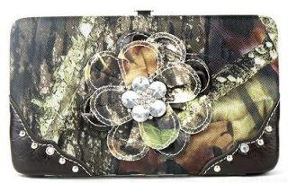WESTERN COWGIRL CAMO BLING RHINESTONE FLOWER LADIES FLAT WALLET BROWN