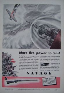 1943 WWII SAVAGE Model 99 RIFLE AD Army Navy Browning Aircraft Machine