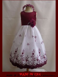 Burgundy Wedding Flower Girl Pageant Party Dress Size 9