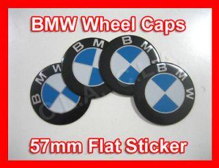 4x BMW blue and white logo Wheel Center Cap Sticker (flat) 57mm