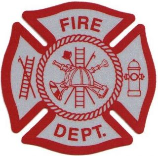 Firefighter Decal/Sticker Maltese Cross White and Red Reflective